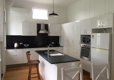 Black on white New Farm Kitchen renovation