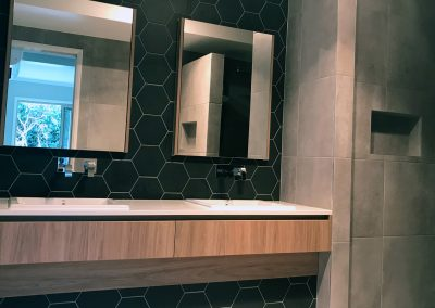 Modern Hexagon Black Bathroom