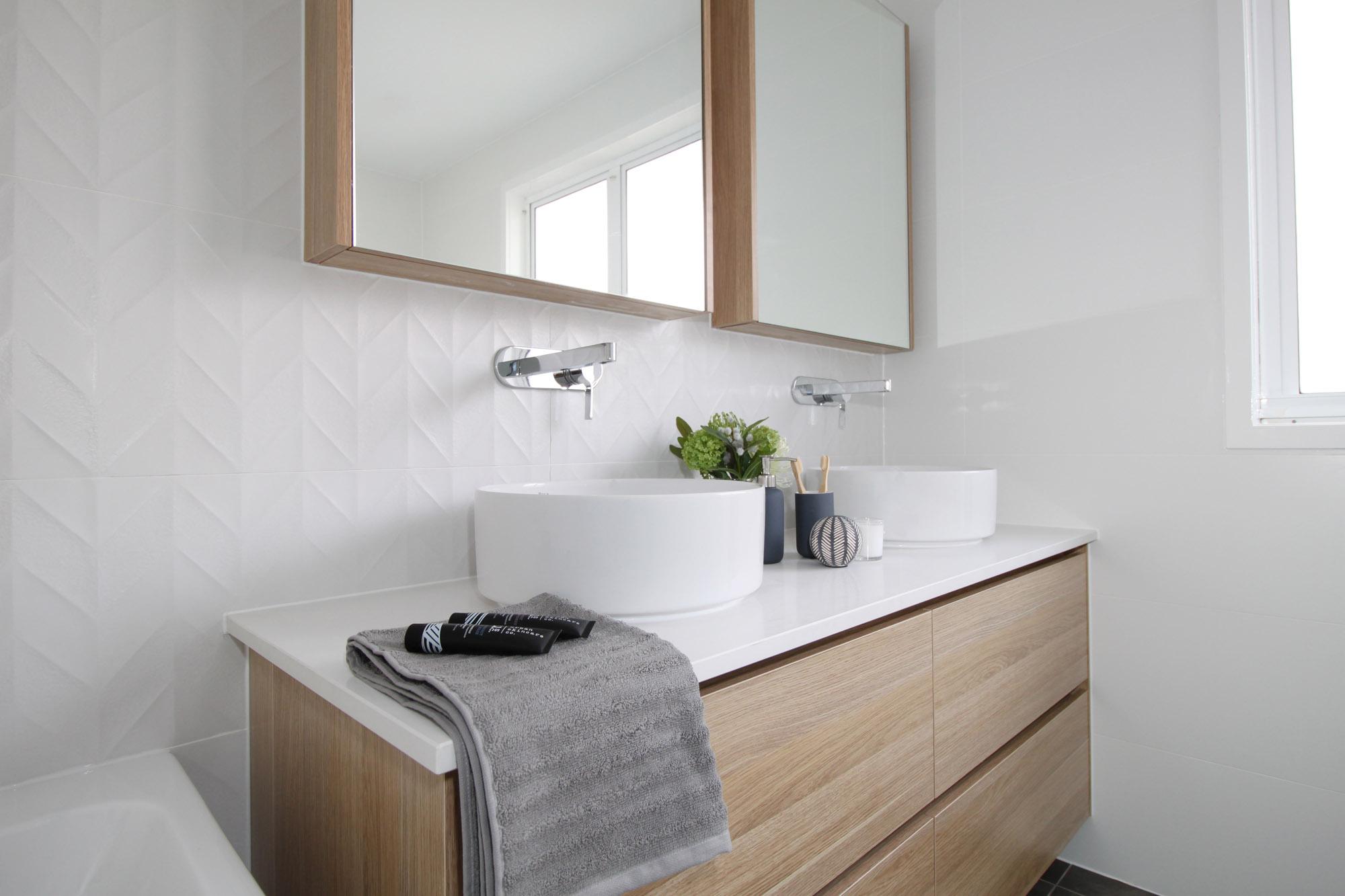 Brisbane Kitchens and Bathrooms - White and Woodgrain vanity