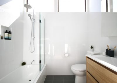 Over Bath Shower with moveable glass screen - Compact Vanity Solution