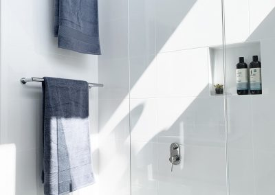 Twin Towel rails over the bath - Shower Niche for cleansing products