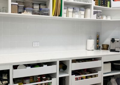 Butlers Pantry Shelving & Storage Drawers with Fridge.