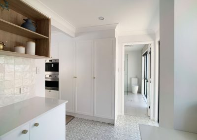 Butler's Pantry Storage Hidden Broom Cupboard with power for Dyson Vacuum Charging Station