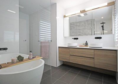 Recessed Style Vanity - Black Twin Shower Rail