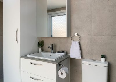 Compact Bathroom Addition - Linen Storage Cabinet and Vanity