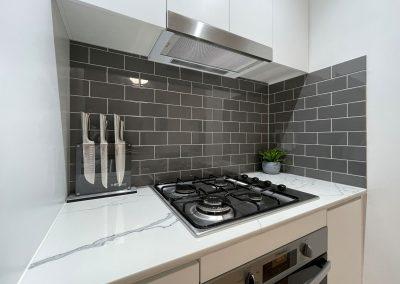 Kitchen Cooking Corner - Grey Brick Formation Splashback