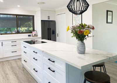 White Kitchen Black Accents - Stone on 2 Pac Cabinetry
