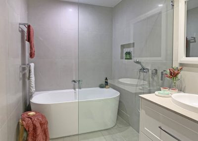 Shower Area with Freestanding Bath - Twin Towel Rails