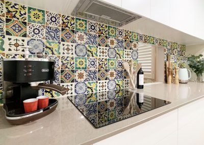 Mexican Encaustic Tiles - Servery window to dining room.