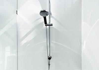 Twin Shower Rail on white tiles - Fixed Panel Shower Screen