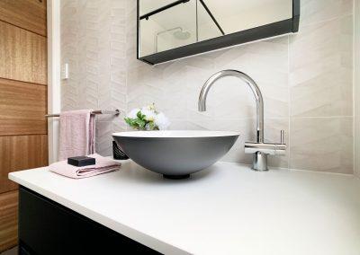 Vessel Basin with Gooseneck Tap in custom vanity unit