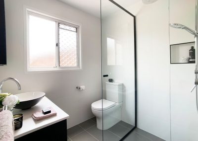 Black Semi Frameless Shower Screen - All the features you need in a compact space.
