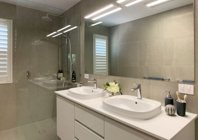 Double Vanity and Towel Rails - Extra large mirror with overhead LED Lighting