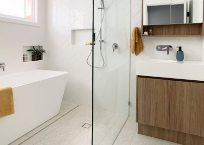 Woodgrain Vanity and Shaving Cabinet - Solid State Moulded Basin with in wall tap