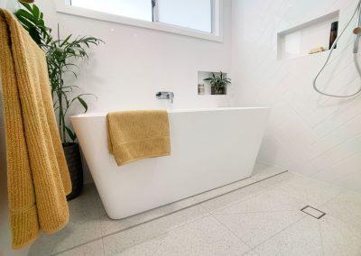Freestanding Bathtub with back to wall - Beautiful Terrazzo Floor Tiles